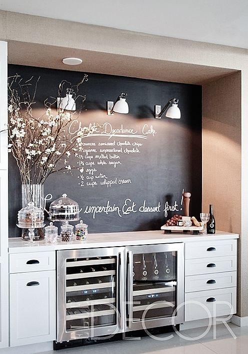 bar etc so cute love the chalk board wall