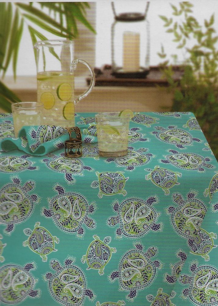 """Tommy Bahama Tranquil Turtles 60"""" x 84"""" Oblong Tablecloth Water Repellent #TommyBahama"""