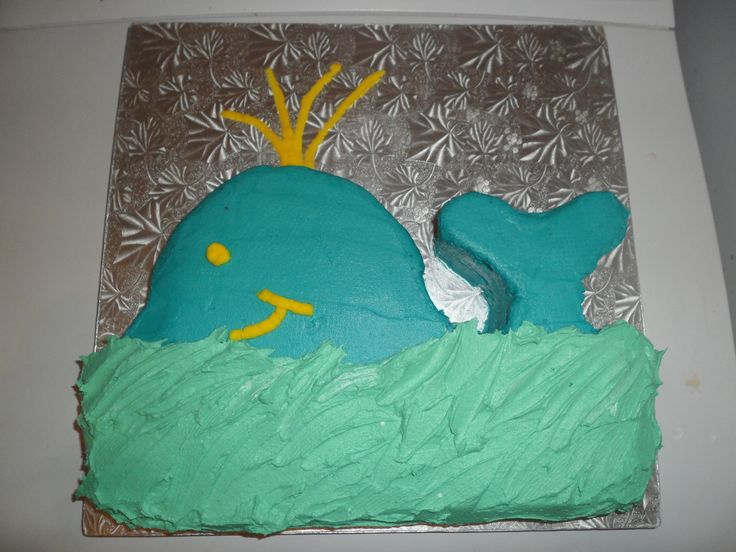 Whale cake - Jett and I were bored on rainy day - had to make do with the colours in the cupboard!? LOL
