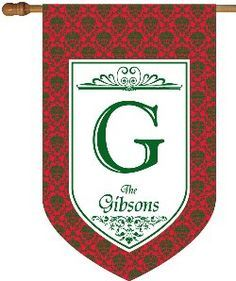 Red and Green Damask Personalized House Flag - Monogrammed House Flags