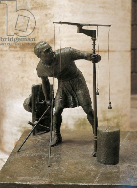 Sculpture representing an agrimensor (land surveyor). Museo Della Civilta Romana (Museum of Roman Civilisation), Roman art Artwork-location: Rome, Museo Della Civiltà Romana (Museum Of Roman Civilisation)