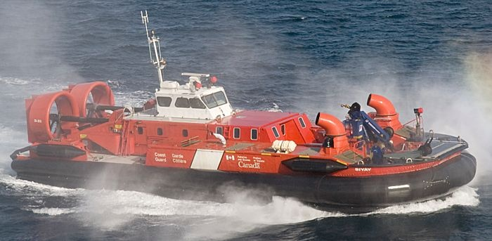 """Coast Guard """"SAR"""" Hovercraft – Mission Ready and Deployed"""". These two custom built """"multi-task"""" Hovercraft (ACV's) , Christened the """"SIYAY"""" and the """"SIPU MUIN"""" are utilized by the Canadian Coast Guard for Emergency Response, Search & Rescue, Navigational Buoy retrieval and deployment, and Icebreaking. The SIYAY carries out duties on the Frazer River Delta British Columbia, its navigatable tributaries, and the Georgia Straits."""