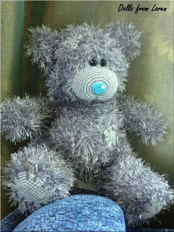 Grey Hand knitted Teddy Bear  by LorensDolls on Etsy