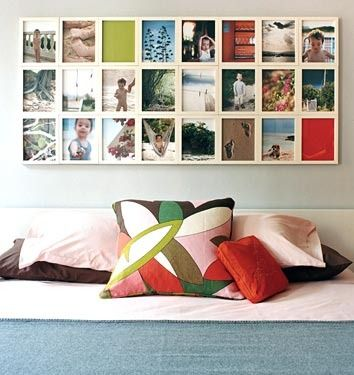 """Looking GOOD!!  """"This first idea take traditional, small frames but adheres them together to make one big statement. No DIY instructions from the original source, but I'd think some wood glue and clamps would get the job done."""""""