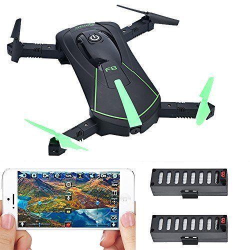 Drone Camera Wifi FPV Selfie Foldable w/ Voice Controls Path Control 2 Batteries #DroneCamera