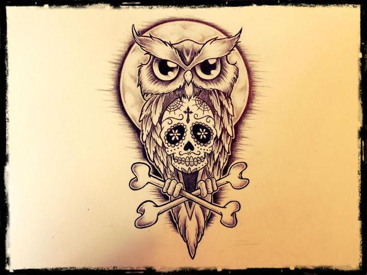 Custom tattoo designer demi liebenberg owl for Owl with sugar skull tattoo