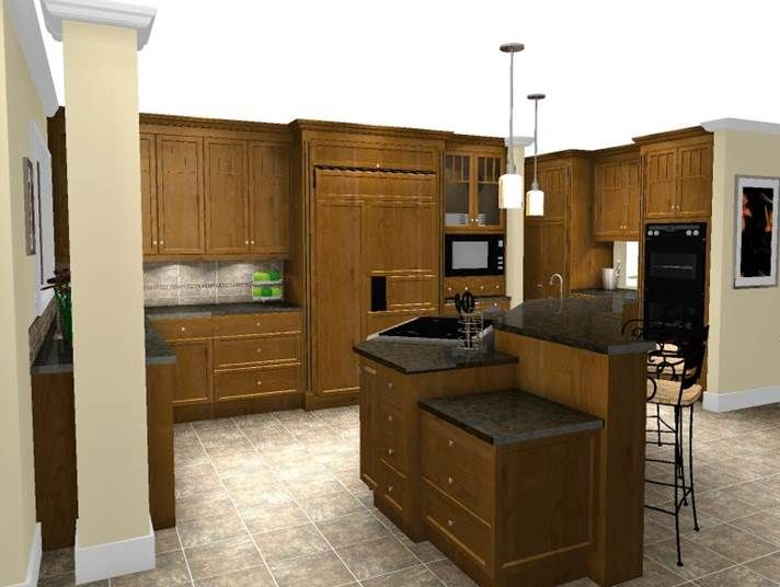 Cherry shaker cabinetry with mullion detail and granite counters in a Craftsman Style Kitchen