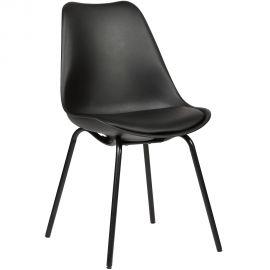 DOW-CONSILIUM De stoel is voorzien van een zwart of wit poeder gecoat onderstel en een comfortabel gestoffeerd zitkussen in bijpassende kleur.  Toepasbaar in zowel professionele ruimten als uw woonruimte. - kunststof P/P zitting in het zwart; - comfortabel en makkelijk in gebruik; - zwart of wit gepoedercoat onderstel; - pu-lederen kussen in de kleur van de zitting.