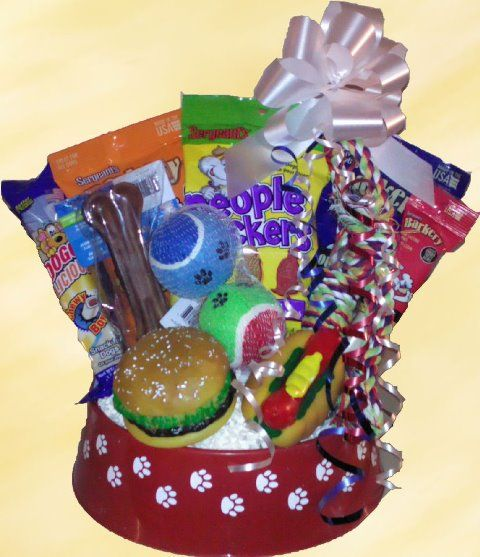 Dog Luvers Gift Basket! Give a gift for someone's favorite furry friend! This basket is actually a large dog feeding bowl which contains various dog treats and snacks for their four legged pal. This is a great gift for someone who truly appreciates canines! $20