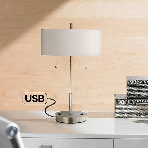 Complete With Twin Pull Switched And A Simple Design, This Contemporary  Metal Table Lamp With