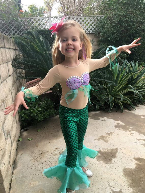 Ariel Costume Long Sleeves Ariel Leggings  for Girls Size 2T,3T,4,5,6,7,8,9,10Y