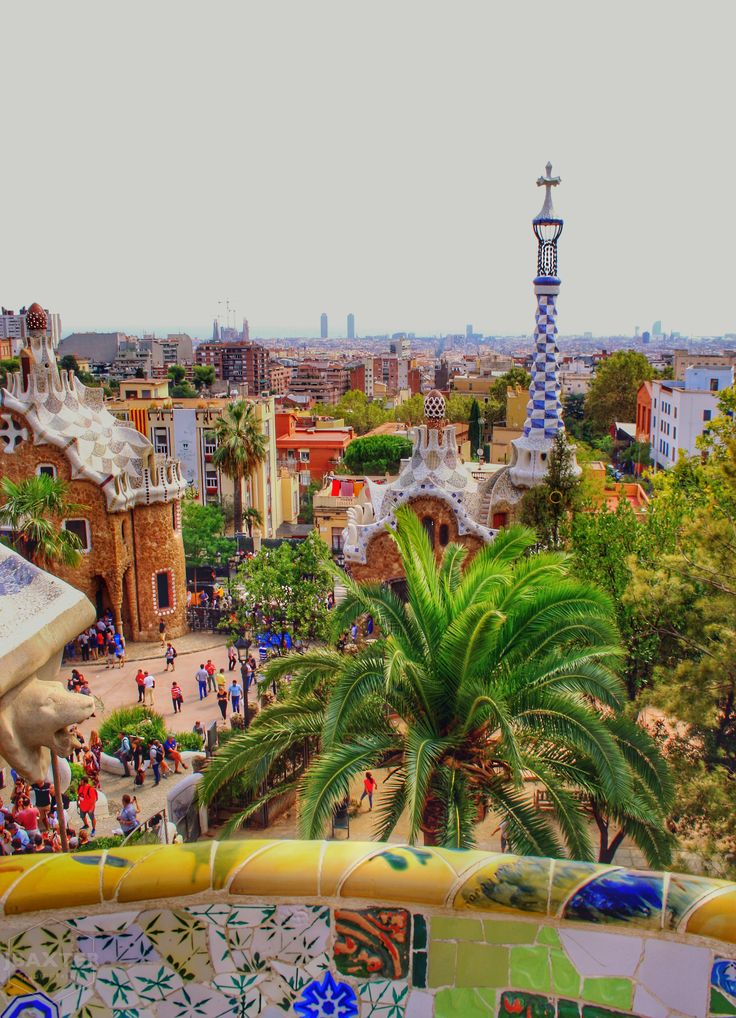Colourful Park Guell in Barcelona, Spain 🇪🇸