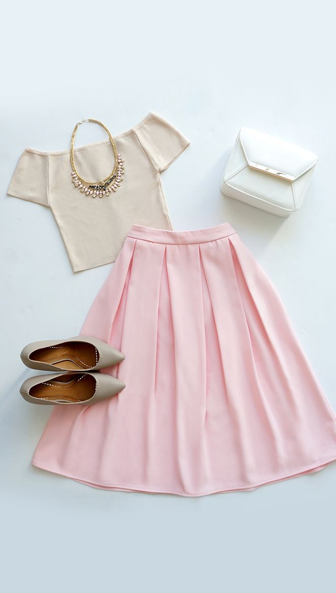 Oh, So Pretty Light Pink Midi Skirt  I would absolutely wear this. If only I could pull off-white off!
