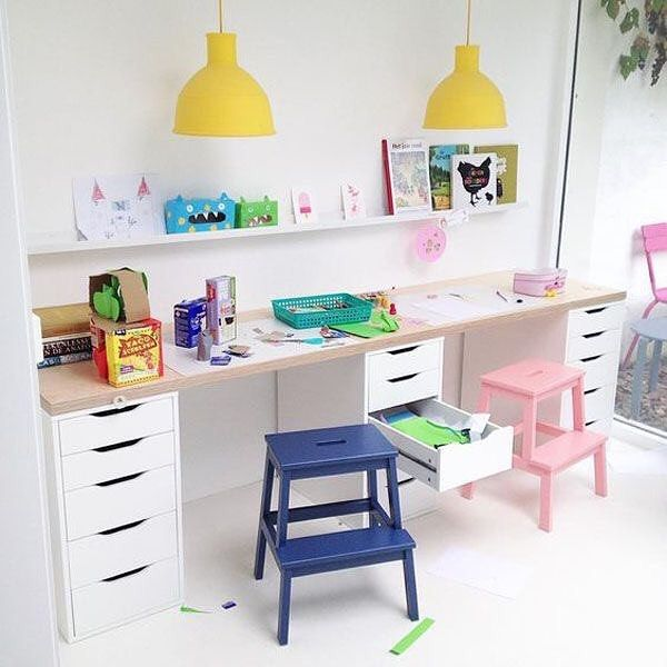 """8 Likes, 2 Comments - Coralie Stokes•LifetimeReader (@lifetimereader) on Instagram: """"Isn't this kid-friendly workspace just perfect? I love the ledge bookshelves and all of the counter…"""""""