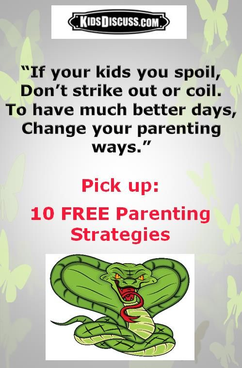 When you react to your spoiled child's disrespect in ways that make you feel guilty, pick up these 10 FREE Parenting Strategies by Inserting the word UNSPOIL at http://kidsdiscuss.com/subscriber-gifts.asp  Download and feel good about your parenting.