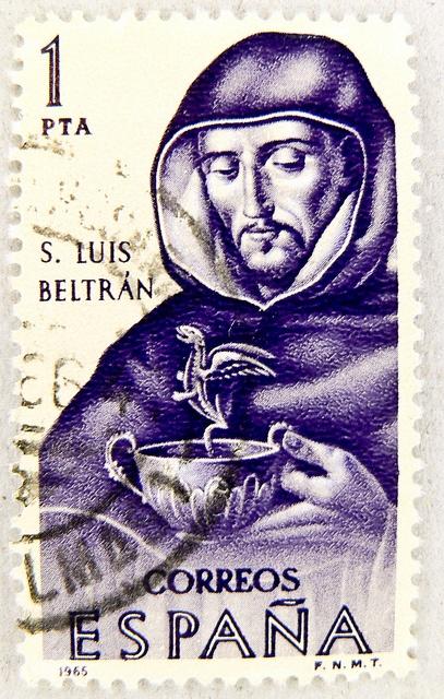 postes timbre Espagne sello Espana 1 pta postage stamp Spain  dragon & Santo Luis Baltrán