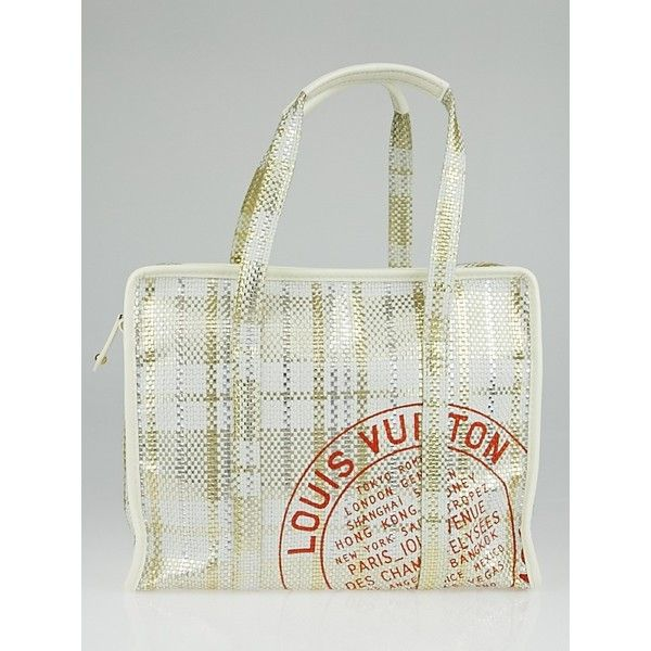 Pre-owned Louis Vuitton Limited Edition White Braided Street Shopper... (€615) ❤ liked on Polyvore featuring bags, handbags, tote bags, louis vuitton handbags, louis vuitton tote, travel purse, summer tote bags and woven leather handbag