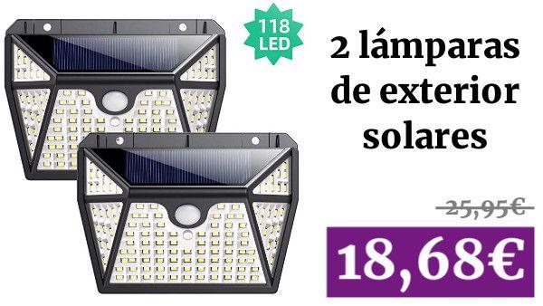 Luz Solar Exterior Ekrist Iluminación De 5 Lados 118 Led Luces Solares Foco Solar Exterior Con Sensor De Movimiento Focos Sensores De Movimiento Luces Solares