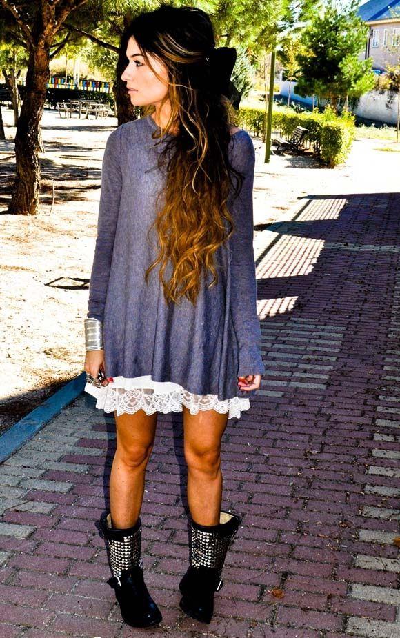 lace night dress under a loose sweatern