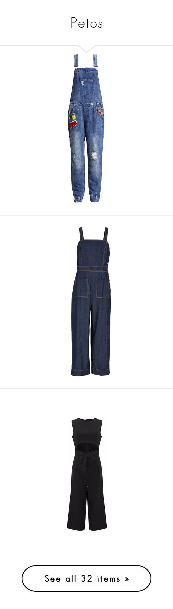 """Petos"" by yblacasa ❤ liked on Polyvore featuring jumpsuits, denim, denim overalls, denim jumpsuit, distressed overalls, bib overalls, overalls jumpsuit, steel denim, jump suit and tibi"