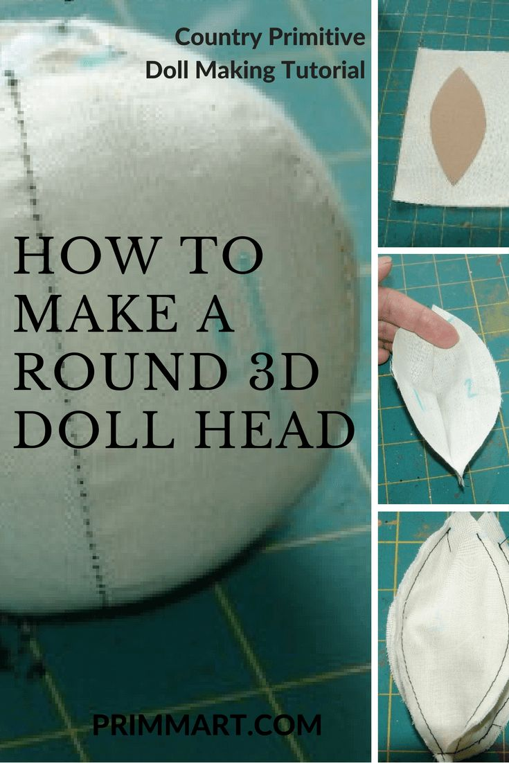Learn how to make round 3d doll head to create your own country, primitive, and whimsical style handmade dolls. Learn step by step from a doll artist.