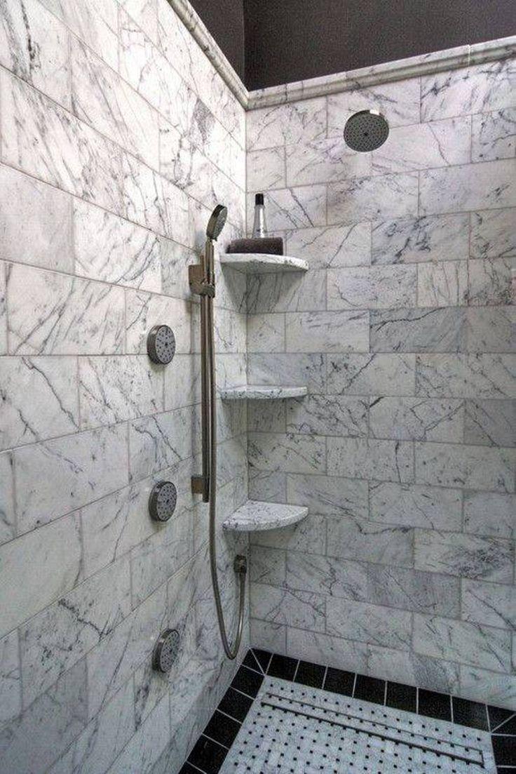 Bathroom , Practical Shower Corner Shelves : Walk Shower With Marble Shower Corner Shelves