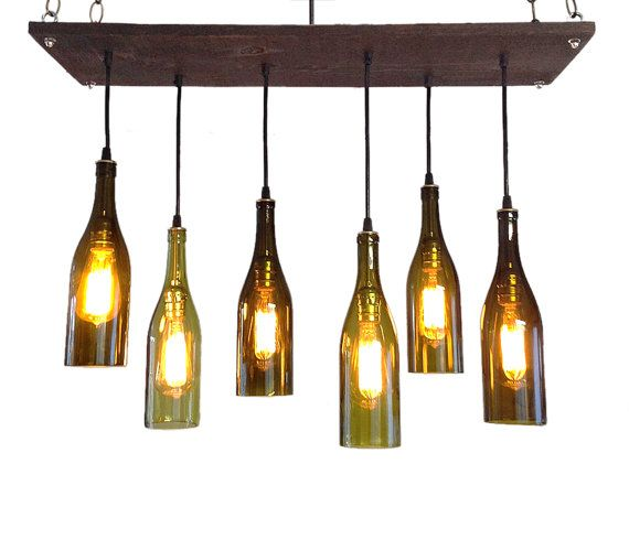 Wine Bottle Chandelier Industrial by IndustrialLightworks on Etsy, $330.00 #Etsy #EtsyRMP