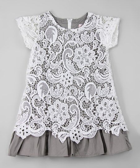 Blossom Couture White & Gray Lace Overlay Dress - Infant, Toddler & Girls | zulily