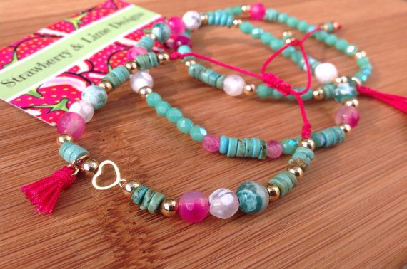 Pink & Aqua Loving Fun by strawberryandlime on Etsy, $40.00#armcandy #armparty #fashion #design #style #trend #wristparty #wristcandy #pulseras #fashion #accessories #necklace #ring #hamsa #evileye #yoga #lotoflower #flowers #rose #cute #pretty #pink #strawberrynlime #cute #colorful #neon #gold #pearls #coral #turquoise #pool #summer
