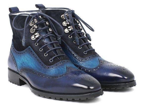 Paul Parkman Men's Wingtip Boots Blue Suede & Leather (ID#971-BLU)
