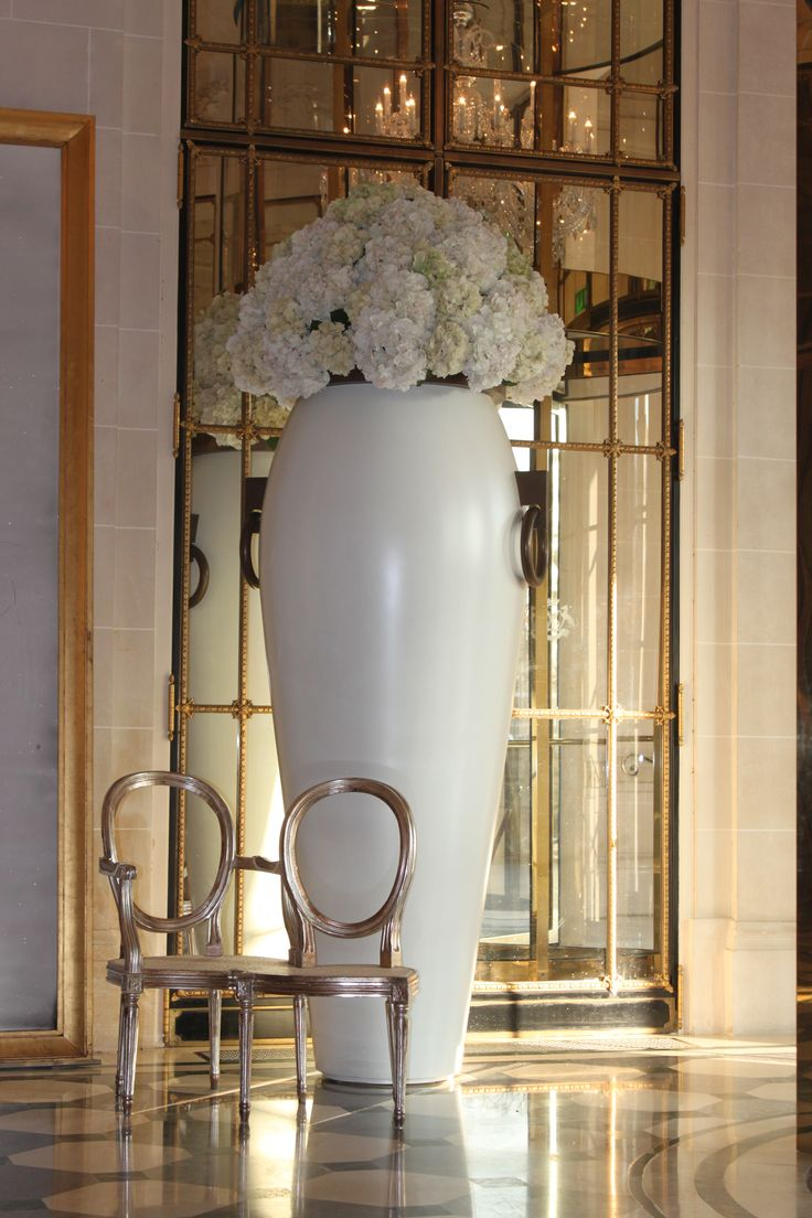 Flower arrangement at a hotel lobby in Paris.