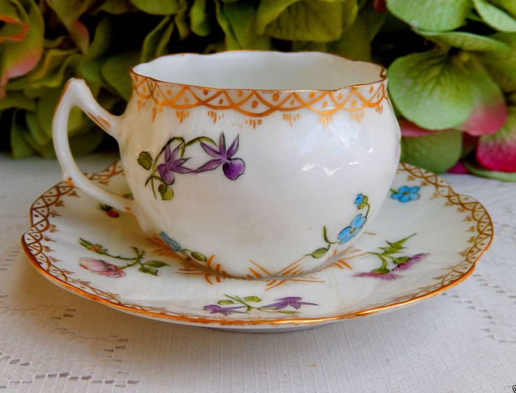 Antique Limoges Porcelain Hand Painted Demitasse Cup & Saucer ~ Flowers ~ Gold #DeliniersLimoges