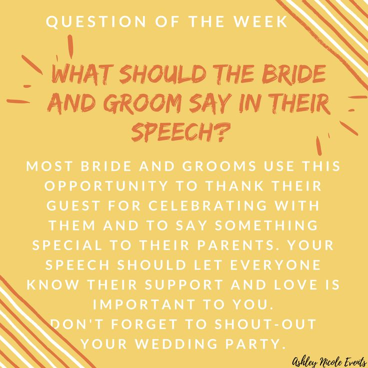 Question of the Week. Bride and Groom Speech Tips. Follow us on Instagram @ashleynicole_events