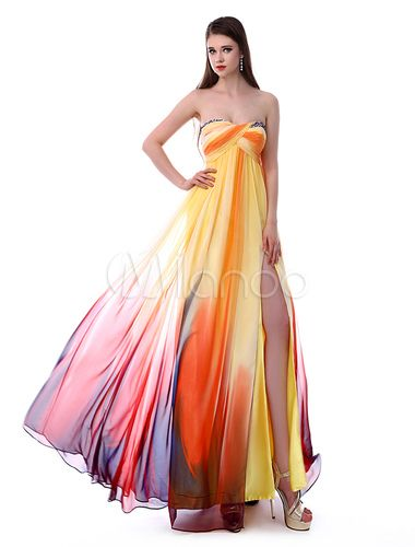 I have never seen *anything* as amazing as this dress.  The concept of rainbow-like stripes, combined with the beautiful flowing fabric, is just so beautiful.  A-line Printed Chiffon Beaded Prom Dress with Draped Neck Split Front - Milanoo.com