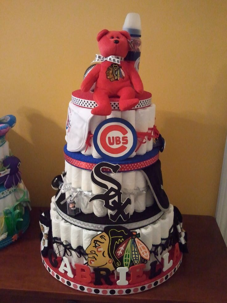 Chicago Sports Diaper Cake by Cassie's Creations :D  Customer wanted to represent Chicago Blackhawks, White Sox and Cubs.