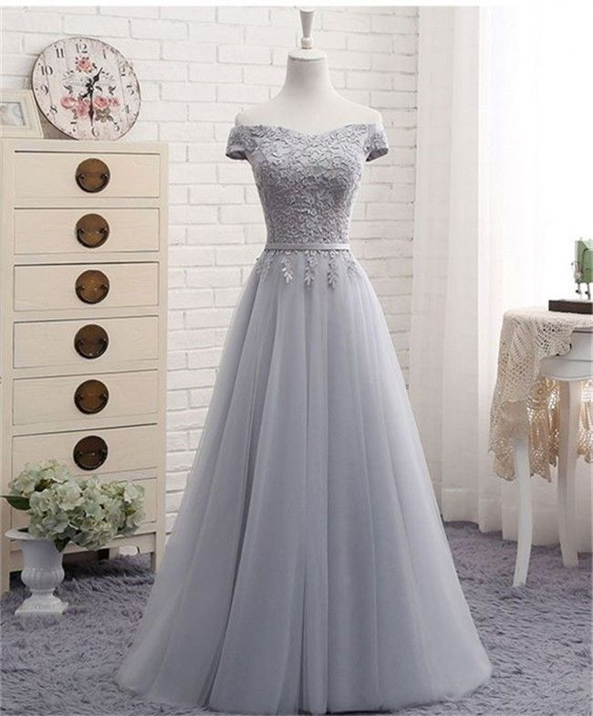 A Line Off The Shoulder Silver Tulle Lace Prom Dress With Belt