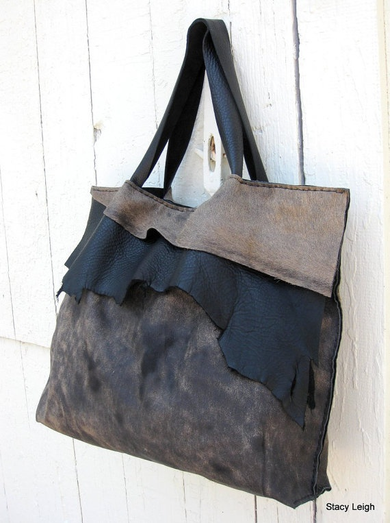 Black and Brown Hair On Acid Washed Cowhide Leather Tote Bag