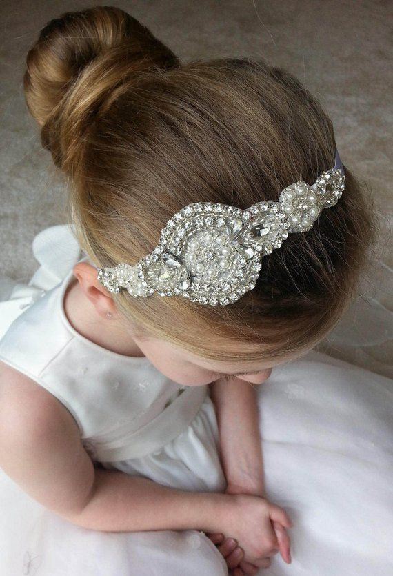 BRIDESMAID FLOWER GIRL COMMUNION HEADBAND HAIR ACCESSORY PEARLS /& CRYSTALS