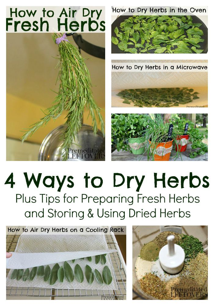 """How to Dry Herbs including how to prepare fresh herbs, air drying herbs, how to dry herbs in a microwave, oven drying herbs, and how to store dried herbs.""  http://premeditatedleftovers.com/recipes-cooking-tips/how-to-dry-herbs-4-methods-to-dry-fresh-herbs/"