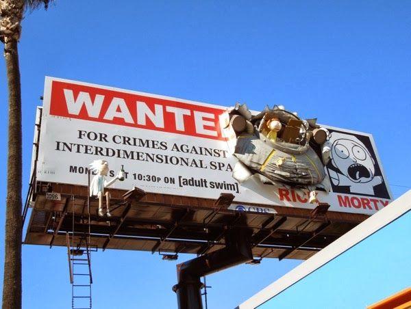 Rick and Morty series premiere Adult Swim billboard crashed UFO 3D installation
