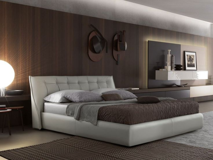 Download the catalogue and request prices of Sumo | leather bed By misuraemme, upholstered leather double bed design Mauro Lipparini, misuraemme Collection