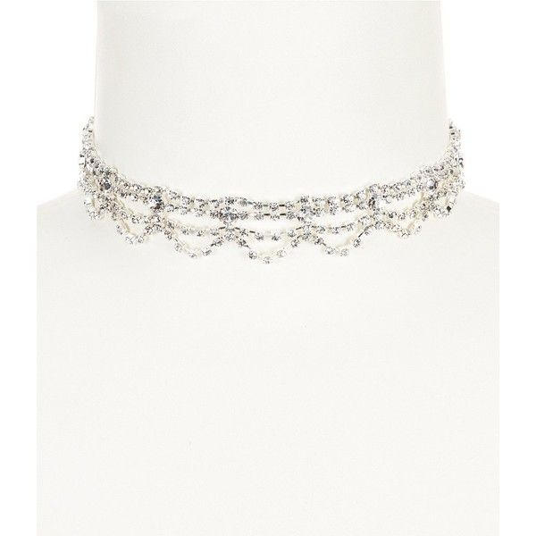 Cezanne Rhinestone Layered Choker Necklace ($28) ❤ liked on Polyvore featuring jewelry, necklaces, rhinestone choker, layered choker necklace, rhinestone choker necklace, cezanne and double layer necklace