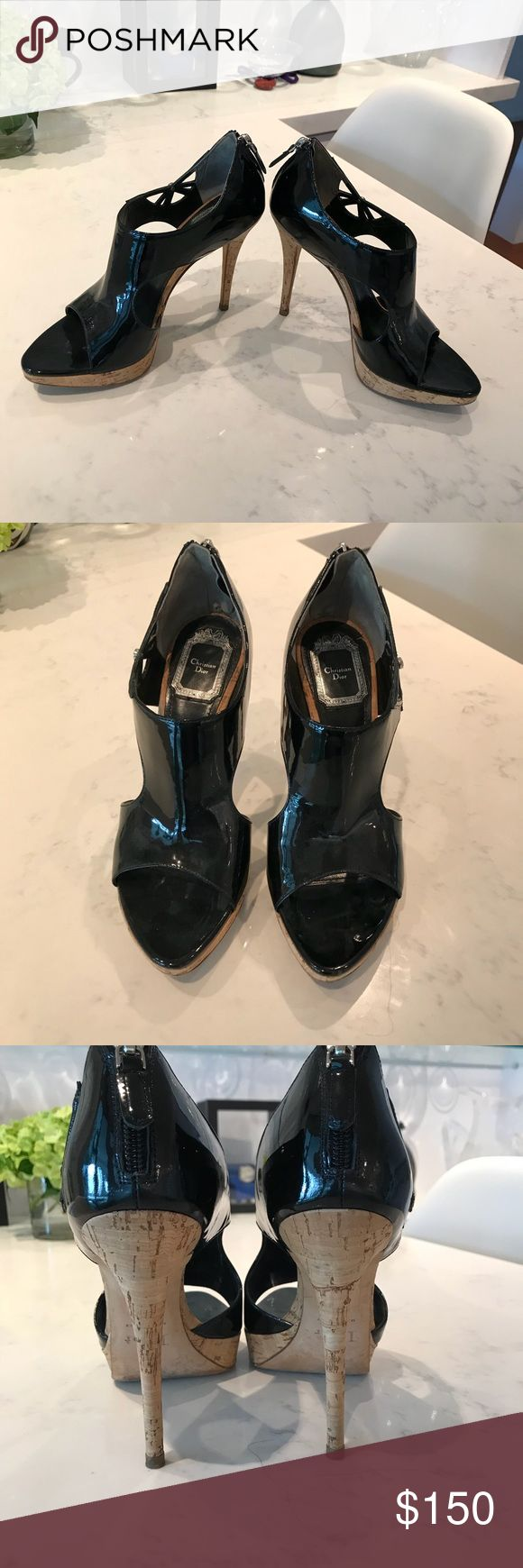 Christian Dior Open Toe High Heels. Sexy and beautiful Christian Dior black enamel heels with pretty open pattern on the sides. Only worn one time. In great condition! 1 inch platform, 4 inches heels Christian Dior Shoes Heels
