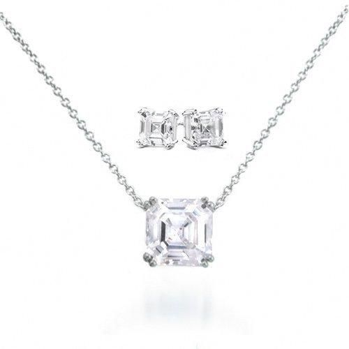 Bling Jewelry Sterling Silver Asscher CZ Pendant Necklace and Earrings Set