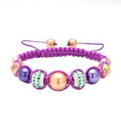 Карма Коллекция Фиолетовый Марди Гра Кристалл издание Макраме Браслет