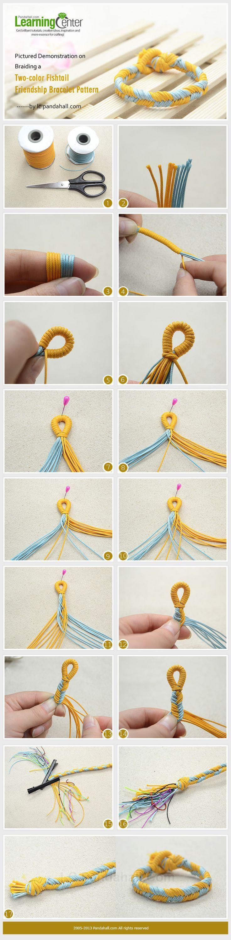 Pictured Demonstration on Braiding a Two-color Fishtail Friendship Bracelet Patt...