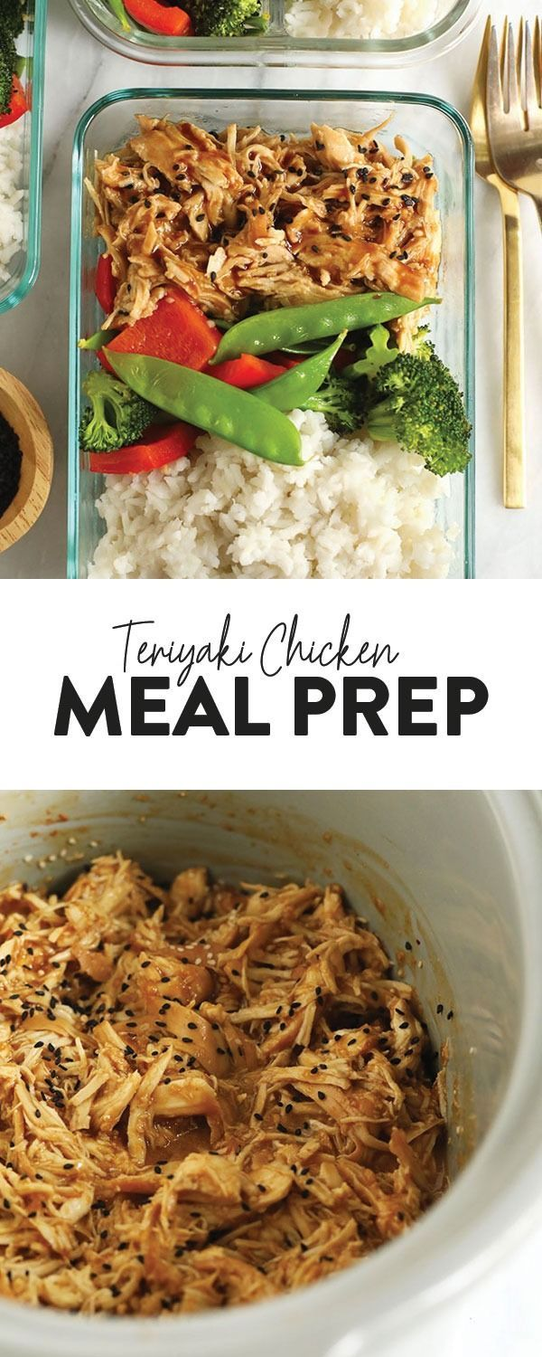 Meal prep the easiest crock pot teriyaki chicken with stir-fried veggies and whi…