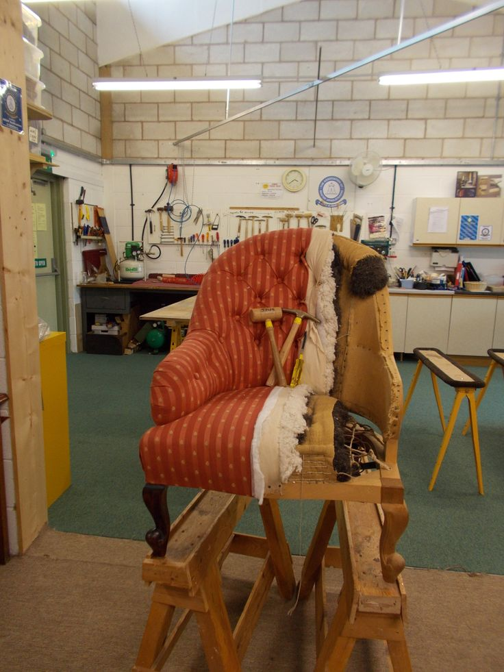 Our workshop and an example of a traditional upholstery
