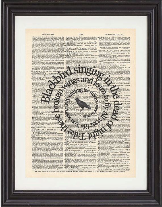 Blackbird,  Song Lyrics, The Beatles, Music, Art Print, Vintage Dictionary, Book Page,  Spiral Word, Typography