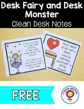 This 6 page set contains desk fairy, desk monster, and a heart note to reward students with clean desks. When the students are out of the room, you can play desk fairy and leave a nice note and a small reward on their desk!Notes for Positive Classroom Management desk fairy notes desk monster notes heart notesMotivate Students to Keep Their Desks Clean Reward students who have worked hard to stay clean and organized Reward students who have made positive changes in their cleanliness and…
